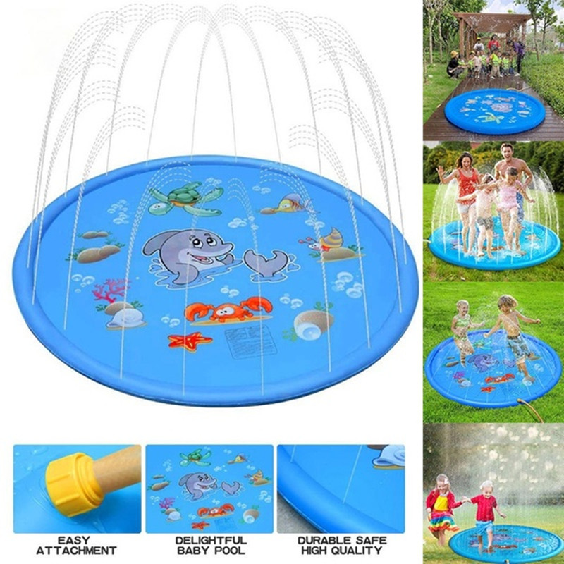100/150/170cm Summer Children Water Game Play Mat Kids Outdoor Splash Mat For Kids Pool Games Toy Sprinkle Splash Water Toy