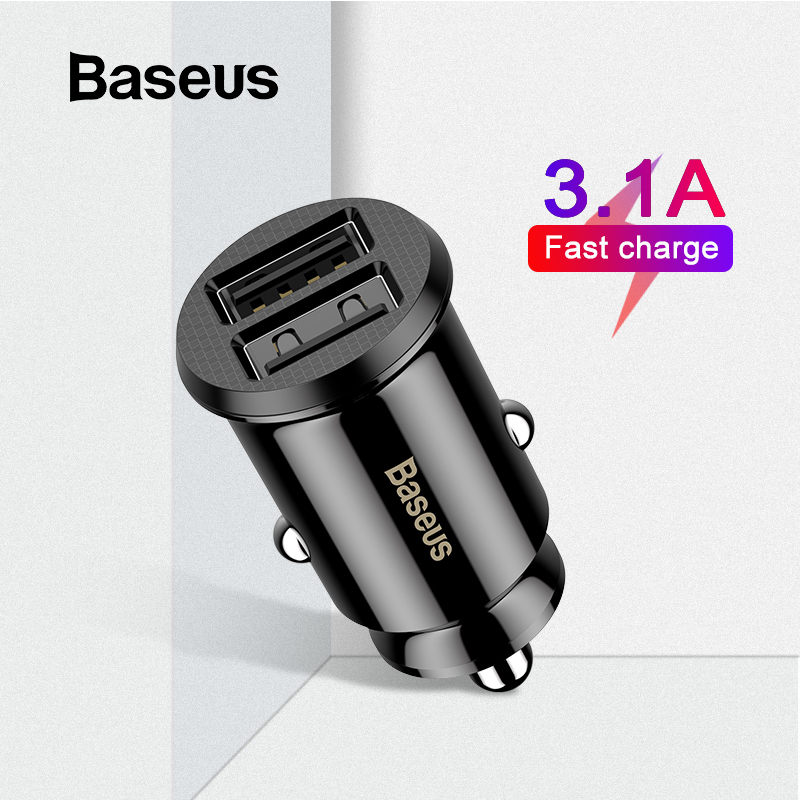 Baseus Mini Dual USB 12V Car Charger 3.1A Fast Charging 2 Port USB Phone Fast Charger Car USB Socket Adapter Car Accessory