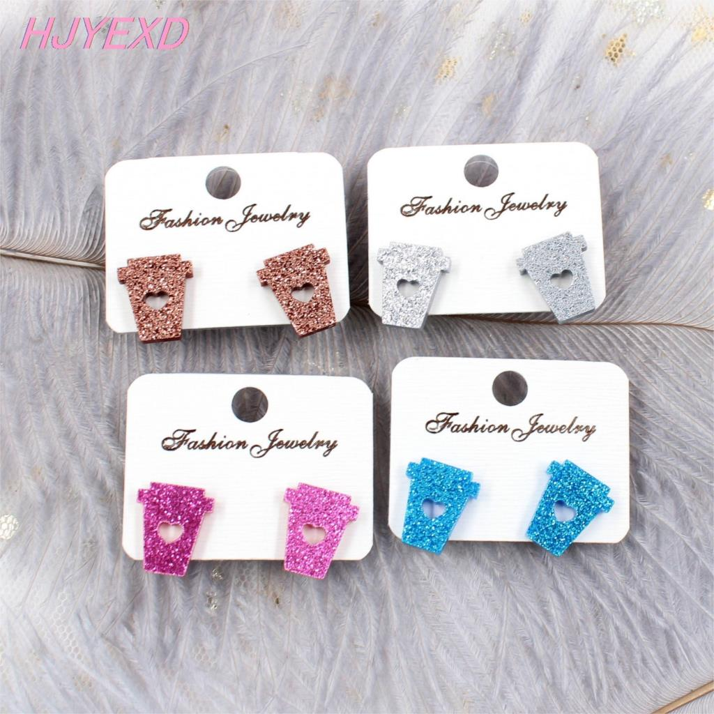 16mm Glitter Acrylic Coffee Cup Stud Earring Blue Pink Glitter Car Crown Stud Earring Allegry Free Earring