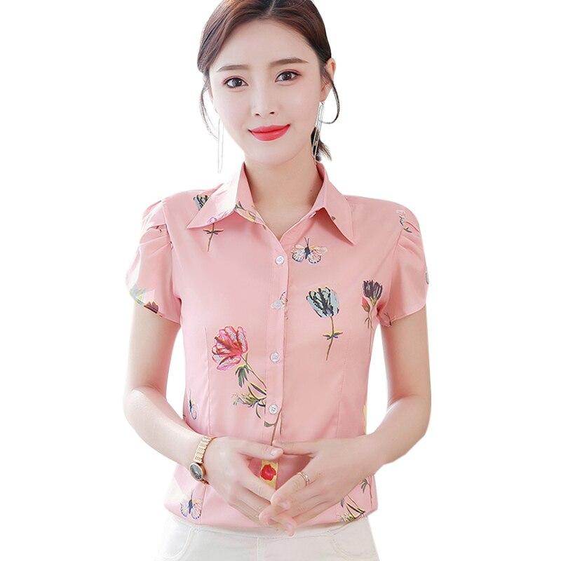 Korean Chiffon Women Shirts Woman Print Shirt Plus Size Woman Short Sleeve Blouse Blusas Mujer De Moda Blusas Femininas Elegante