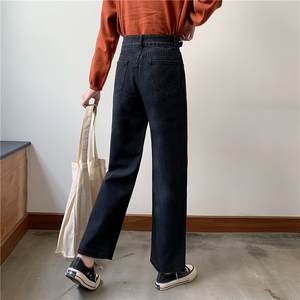 Image 4 - Jeans Women Plus Velvet Thickening Classic High Waist Simple Vintage Wide Leg Trousers BF Loose Womens Harajuku Casual Ulzzang