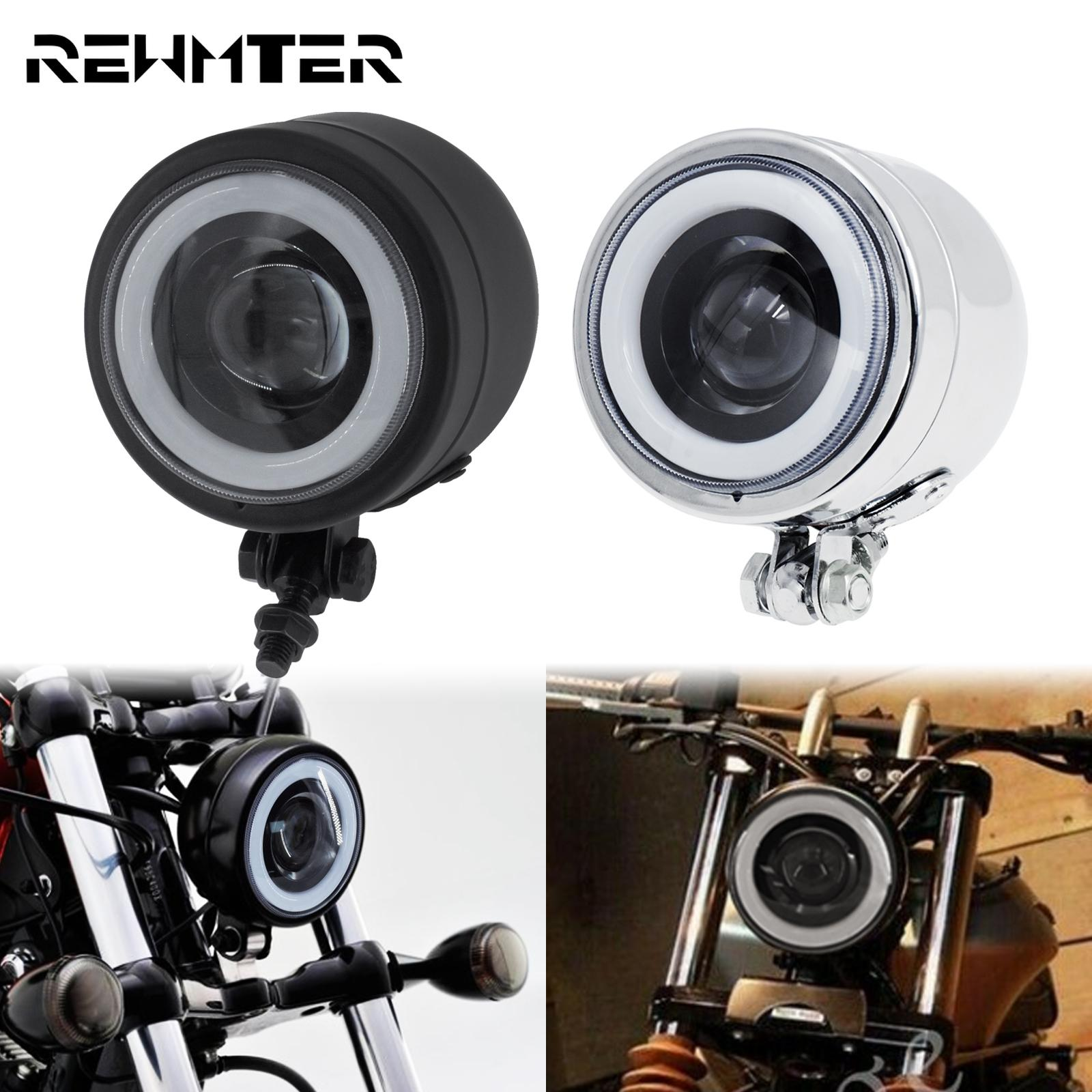 Motorcycle LED Headlight With Amber Angel Eye Running High Low Beam Light Cafe Racer Headlamp For Harley Sportster Dyna Softail