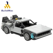 BuildMoc teknik araç geri gelecek zaman makinesi Supercar yapı taşları makine teknisyeni süper spor oyuncak arabalar çocuklar için
