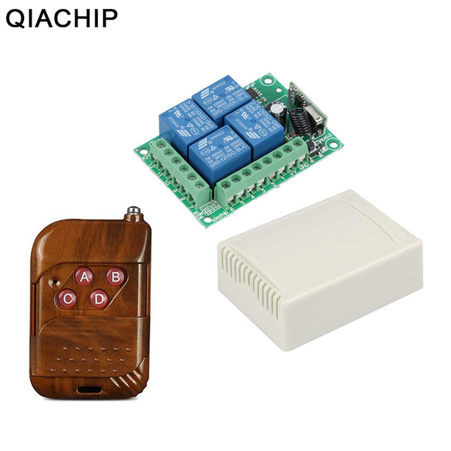 QIACHIP تيار مستمر 12 فولت 10A 4 بوتون جهاز ريموت كنترول لا سلكي يعمل بالتردد الراديوي التبديل 433.92 ميجا هرتز 4CH التتابع وحدة التبديل العالمي للتحكم عن بعد 433 ميجا هرتز