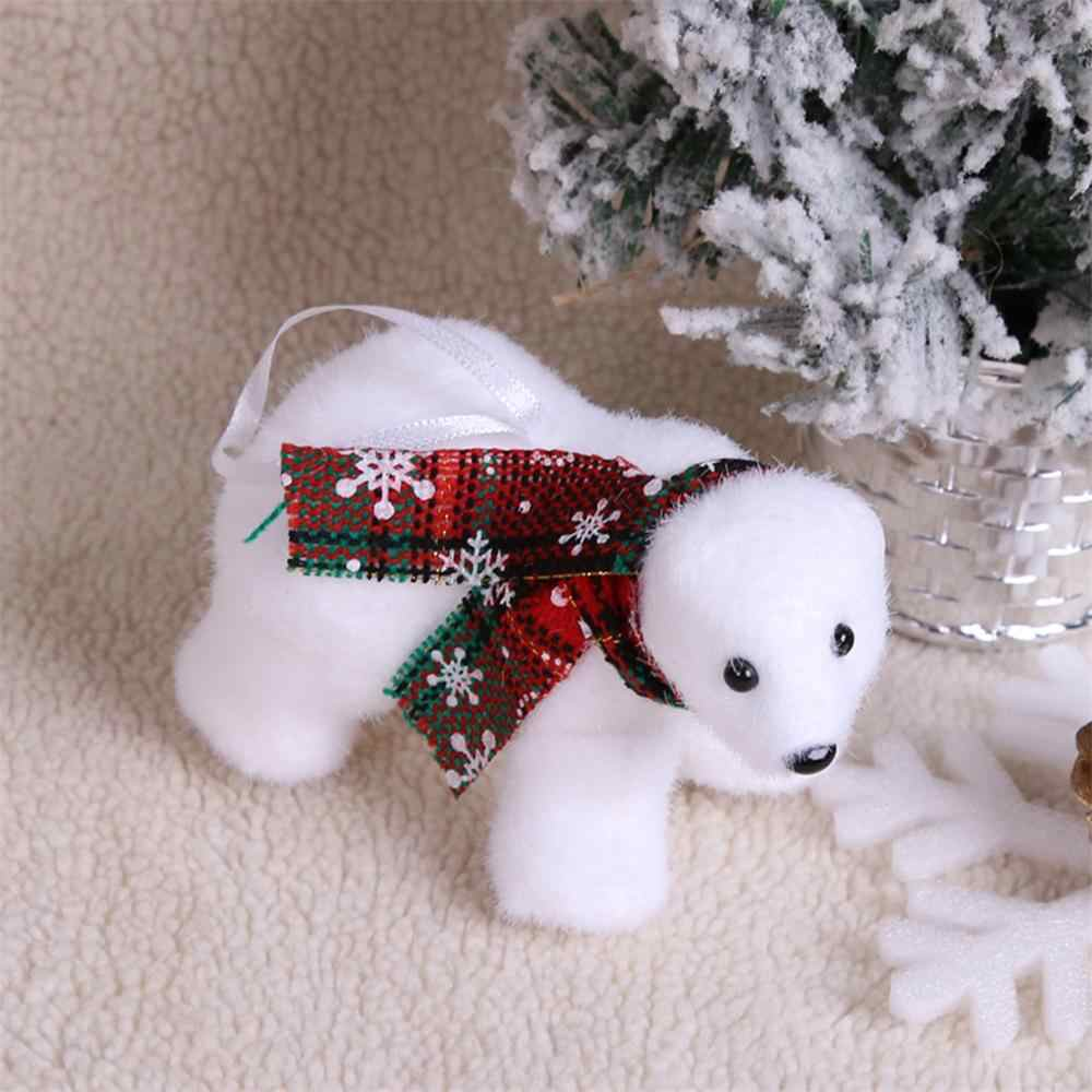 Xmas New Year Gift Decorative creative bear pendant Mini Cute Plush White Bear Christmas Tree Pendant Decoration Home Decor  @40