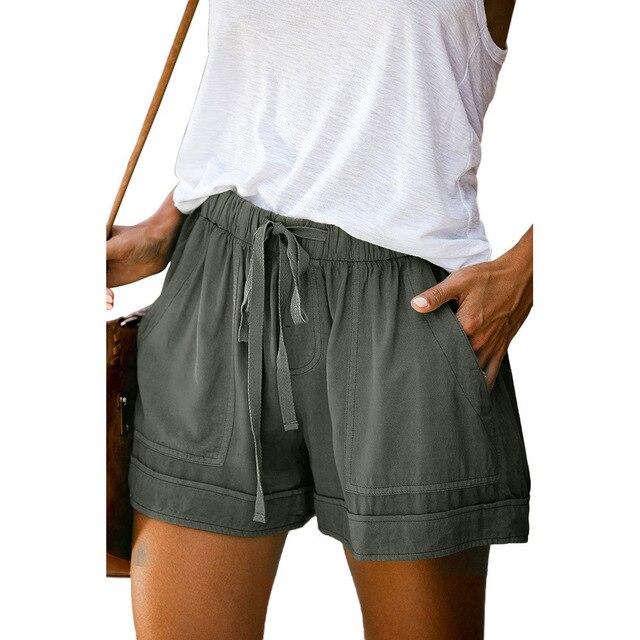 12 Colors Casual Women Short Pants Simple Drawstring Pockets Summer Elastic Waist Loose Home Fashion Streetwear Ladies Pant 2