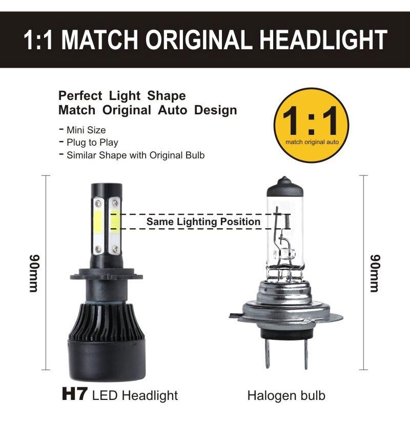 H41b38f7d20124f3899eb2fd90a604e07s TF30 New 4 Side Lumens COB 100W 10000lm H4 Hi lo H7 H11 9005 9006 Car LED Headlight Bulbs Auto Led Headlamp LED C6 Light 12v 24v