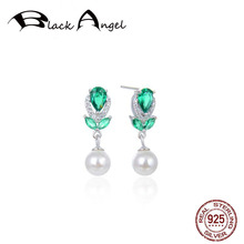 Real 925 Sterling Silver Crystal Emerald Flower Drop Earrings White Freshwater Pearl CZ For Women Fine Jewelry real 925 sterling silver crystal emerald flower drop earrings white freshwater pearl cz for women fine jewelry