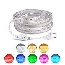 Tira de luces LED de 220V, cinta de lámpara de 1/2/3/4/5/10/15/20m con enchufe europeo/atenuador/kit de interruptor de botón para decoración del hogar, 60LED/M iluminación