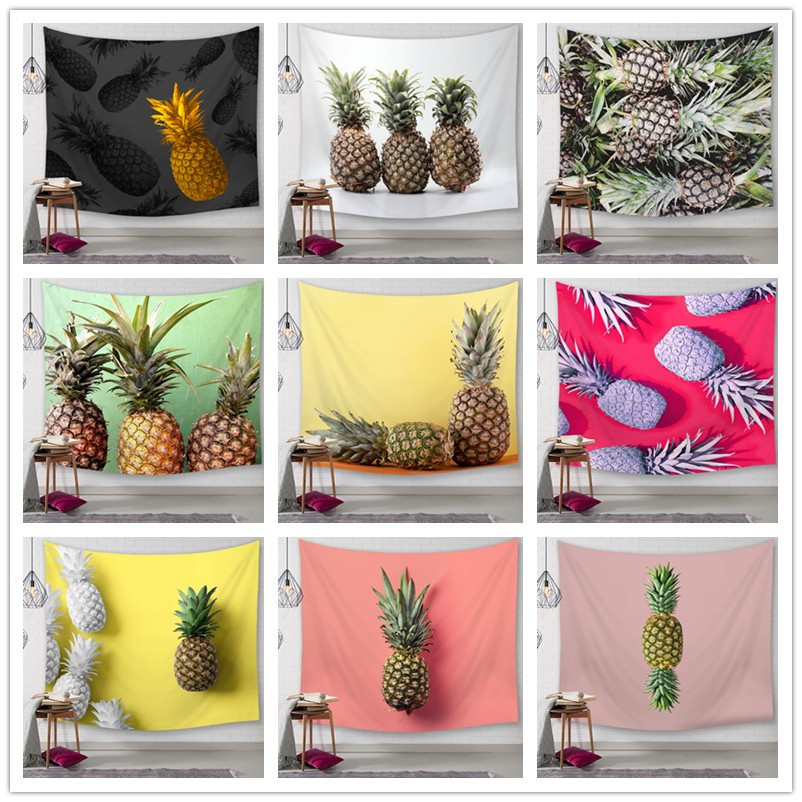 Pineapple Tapestry Wall Hanging Hippie Witchcraft Tapiz Psychedelic Farmhouse Decor Tenture Tapisserie Beach Bohemian Custom image