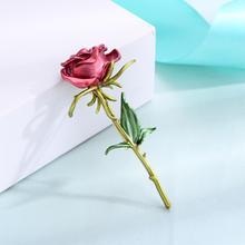 Сладкие красные розовые Броши в форме цветка розы для женщин золотой цвет Медная брошь шпильки модная одежда Свадебные украшения Аксессуары mujer