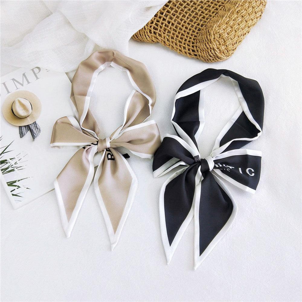 2020 New Women's Luxury Brand Black Long Skinny Neck Tie Scarf Scraf Women Silk Hair Hand Bag Handle Scarfs For Ladies Handbag