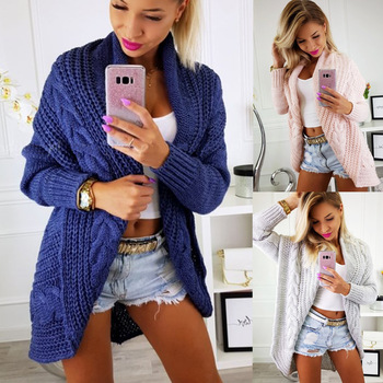 Autumn and Winter Casual Loose Sweater Women Batwing Sleeve Fashion Knit Coat Cardigan Tops