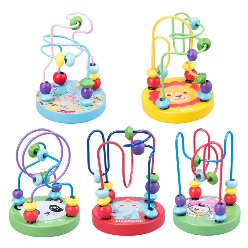 Kids Montessori Math Toys Small Wooden Circles Bead Wire Maze Roller Coaster Activity Preschool Toddler Learning Educational Toy