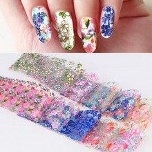 10 sztuk/zestaw folie do paznokci mieszane kwiaty naklejki Nail Art kalkomanie transferowe dekoracje Manicure Nails naklejki wzory narzędzi Nail Stick