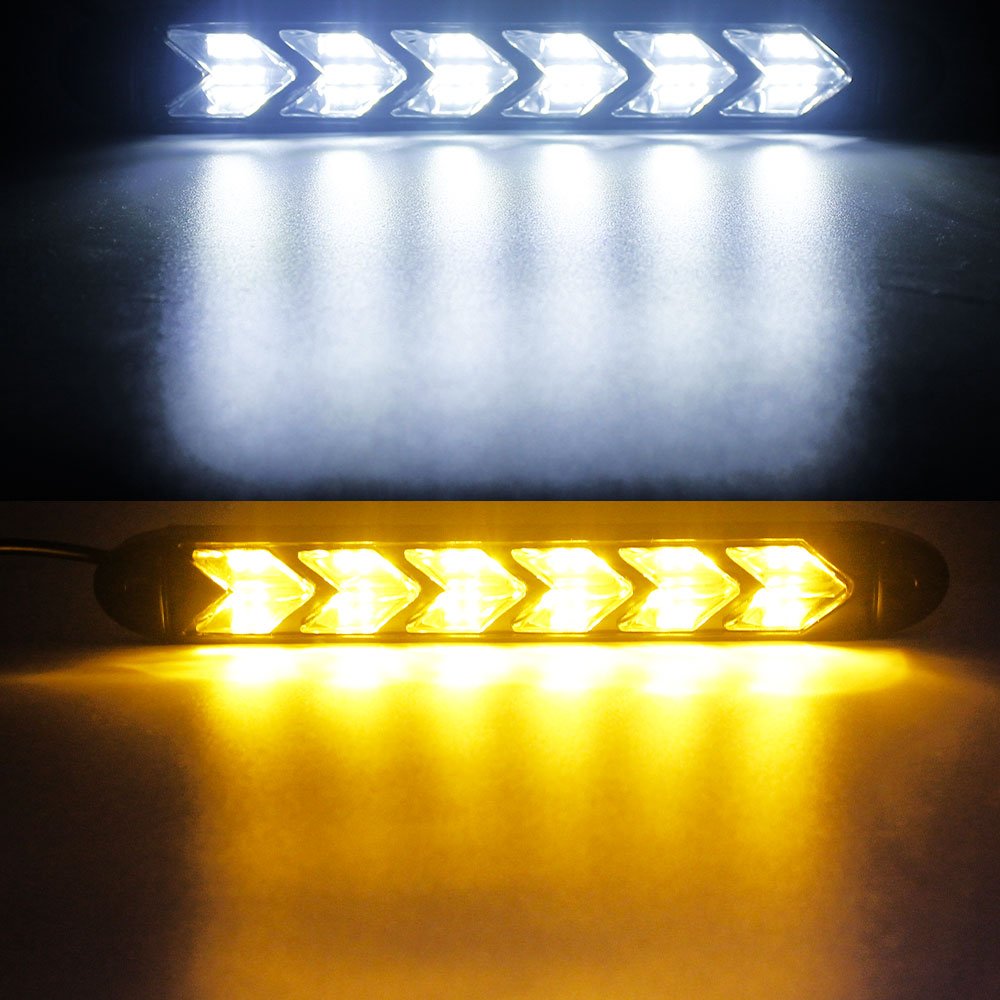 2pcs Universal Car DRL LED Daytime Running Light Waterproof Headlight Strip Sequential Flow Yellow Turn Signal White DRL Light