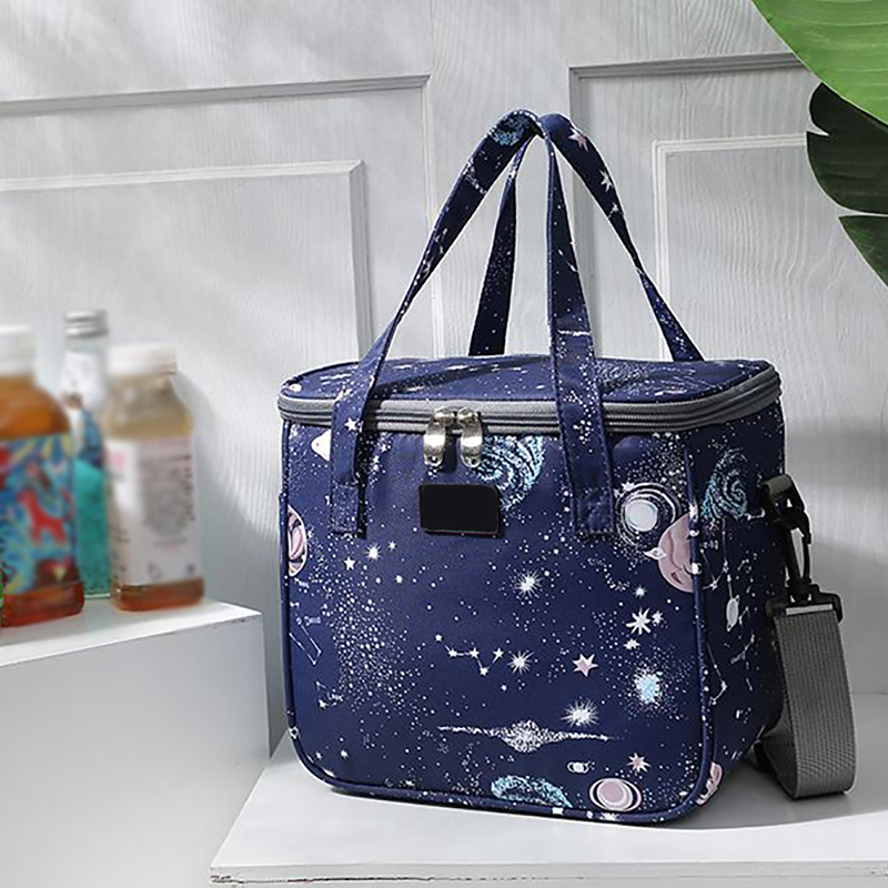 Portable Large Insulated Lunch Bag Outdoor School Office Thermal Lunch Print Zipper Container Waterproof Cooler Bento Handbag