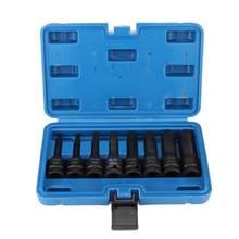 8 pçs 1/2in unidade pneumática de ar allen hex chave bit soquete conjunto H5-H19 quadrado soquete extensão haste adaptador mudança rápida bit titular