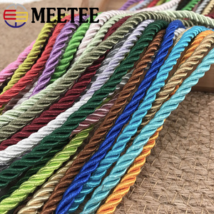Meetee 10M 5mm 3 Shares Twisted Cotton Nylon Cords Colorful DIY Craft Braided Decoration Rope Drawstring Belt Accessories AP477(China)