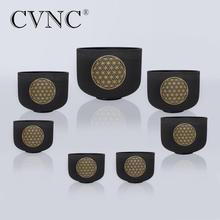 CVNC 6 -12 Black  Set of 7pcs Frosted Quartz Crystal Singing Bowl with Flower life