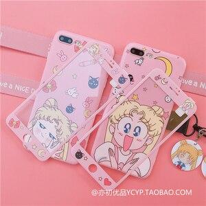 Image 1 - Per Redmi note 8pro sailor moon custodia simpatico cartone animato rosa ragazza cover per telefono per Xiaomi note7pro K20 pro + pendente + cinturino lungo