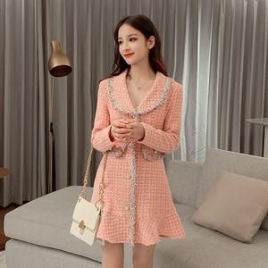 Image 5 - Sweet Pink Dress Long Sleeve Korean Style Buttons Mini Thick Winter Dress Women Good Quality Ruffle Kawaii Vintage Vestido Mujer