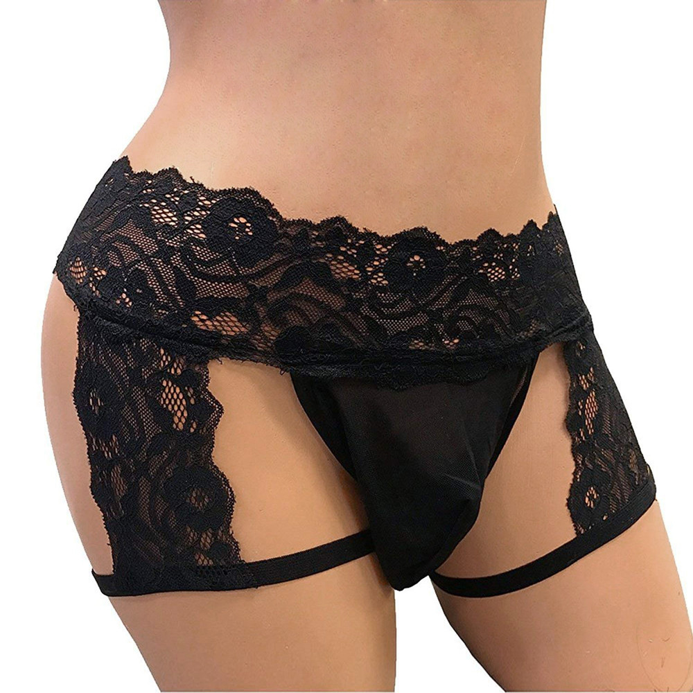 Mens Underwear Lace Thong Elastic Large SSize Enhance Pouch Bikini Hollow Out Briefs Pants Sexy Gay Underwear Men Hot Erotic