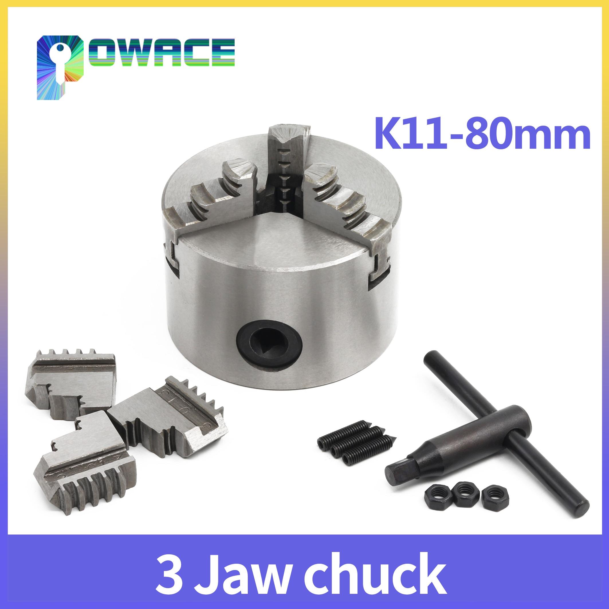 3 кулачковый K11-80mm ручной Самоцентрирующийся патрон CNC станок токарный патрон 4800р/мин 40н. М