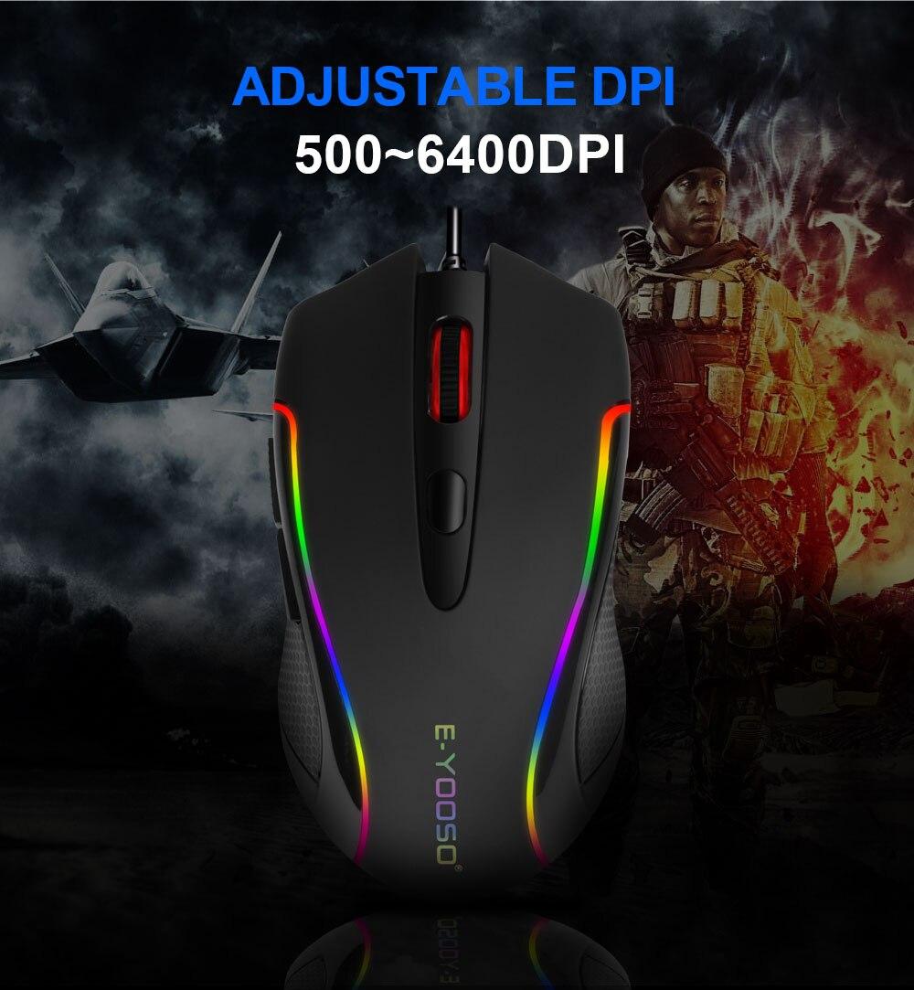 6400 dpi programável jogo óptico ratos backlight