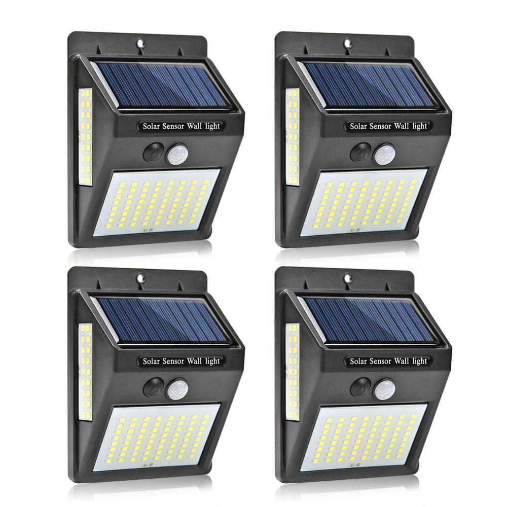 1-4pcs 20/30/100 LEDs Outdoor Solar Light PIR Motion Sensor Solar Garden Light Energy Saving Street Path Wall Lamp Street Light