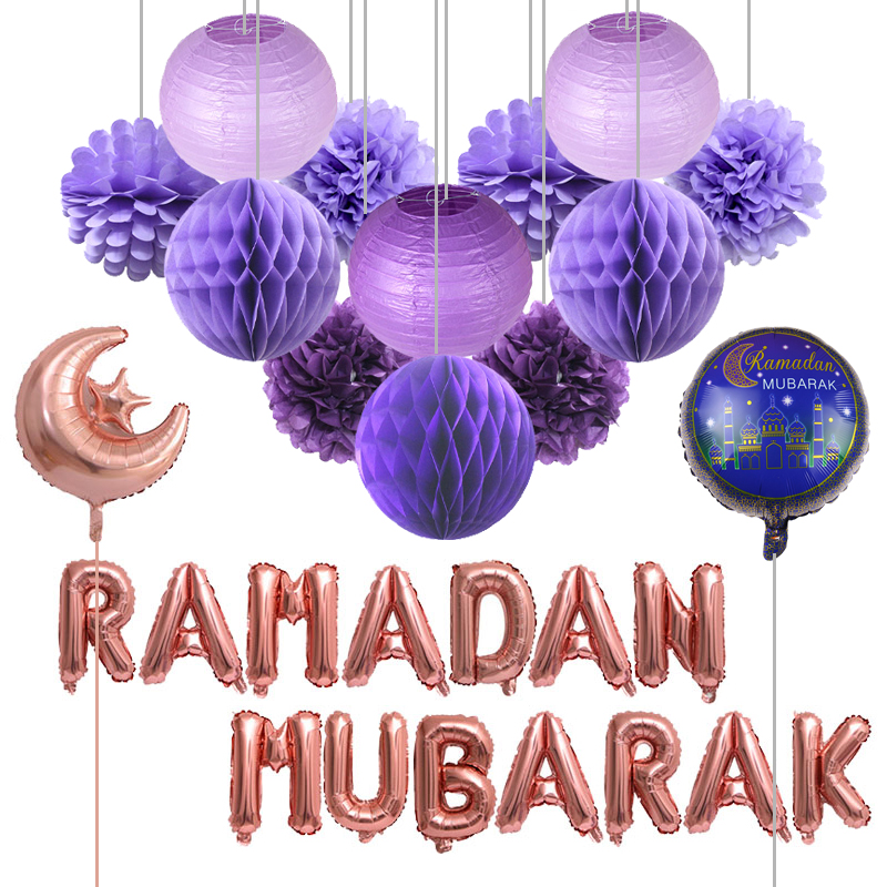 28pcs/set Eid Mubarak Moon Star Foil Balloons Letter Ramadan Mubarak Tissue Paper Lantern Honeycomb Ball Muslim Party Decoration