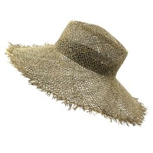 Worn Woven Seaweed Bow Cap Casual Sun Beach Hat Cap Wide Side Summer Hat Unisex Outdoor Woven Straw Hat(China)
