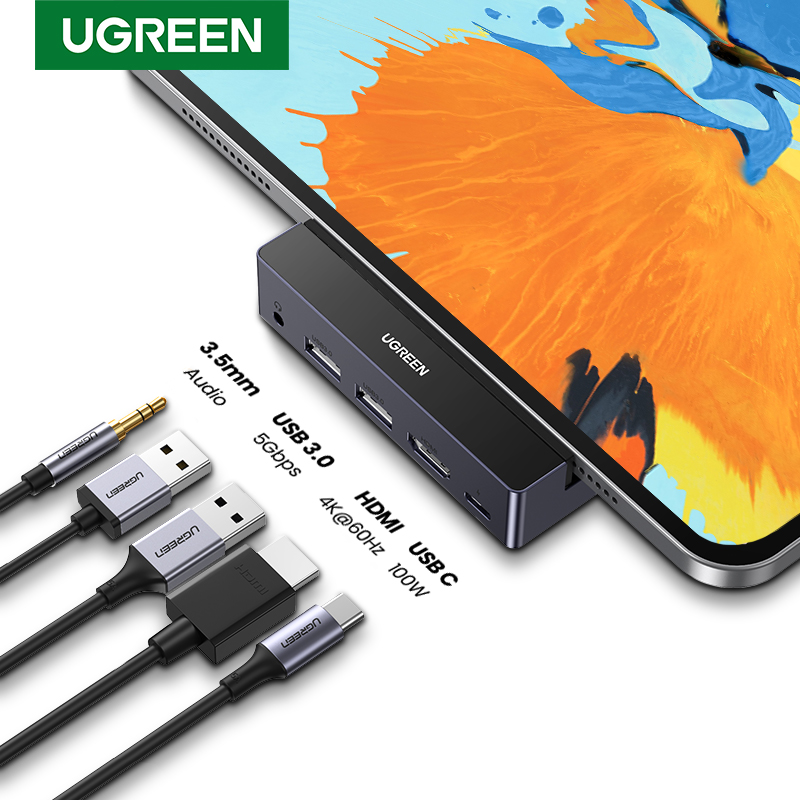 Adaptateur UGREEN USB C Hub HDMI 4K 60Hz pour iPad Pro 2020 2018 USB-C moyeu Dongle USB PD charge USB 3.0 3.5mm prise Audio casque