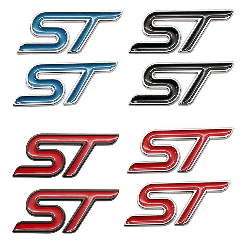 2 шт. 3D металлического цвета — красный, синий, черный Стикеры автомобиля ST эмблема хром значок Стикеры для FORD ST линии FIESTA FOCUS MONDEO Авто Стайлин...