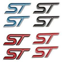 2 pçs 3d metal vermelho azul preto etiqueta do carro st emblema emblema chrome adesivo para ford st linha fiesta foco mondeo carro auto estilo
