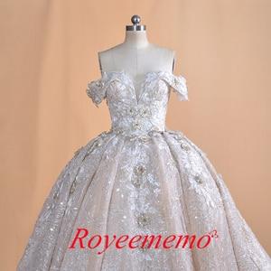 Image 2 - Luksusowy dubaj arabski off shoulder aplikacje koronkowa suknia ślubna 2020 prawdziwe zdjęcia suknia ślubna Vestido de noiva suknia ślubna