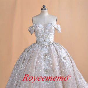 Image 2 - หรูหราดูไบคำปิดไหล่ appliques ลูกไม้ชุดแต่งงานภาพถ่ายจริง 2020 ชุดเจ้าสาว Vestido de noiva ชุดเจ้าสาว