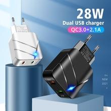 ANMONE QC3.0 USB شاحن 2 منافذ 28 واط LED عرض الاتحاد الأوروبي التوصيل الجدار شاحن محول الطاقة آيفون هواوي شاومي سامسونج اكسسوارات