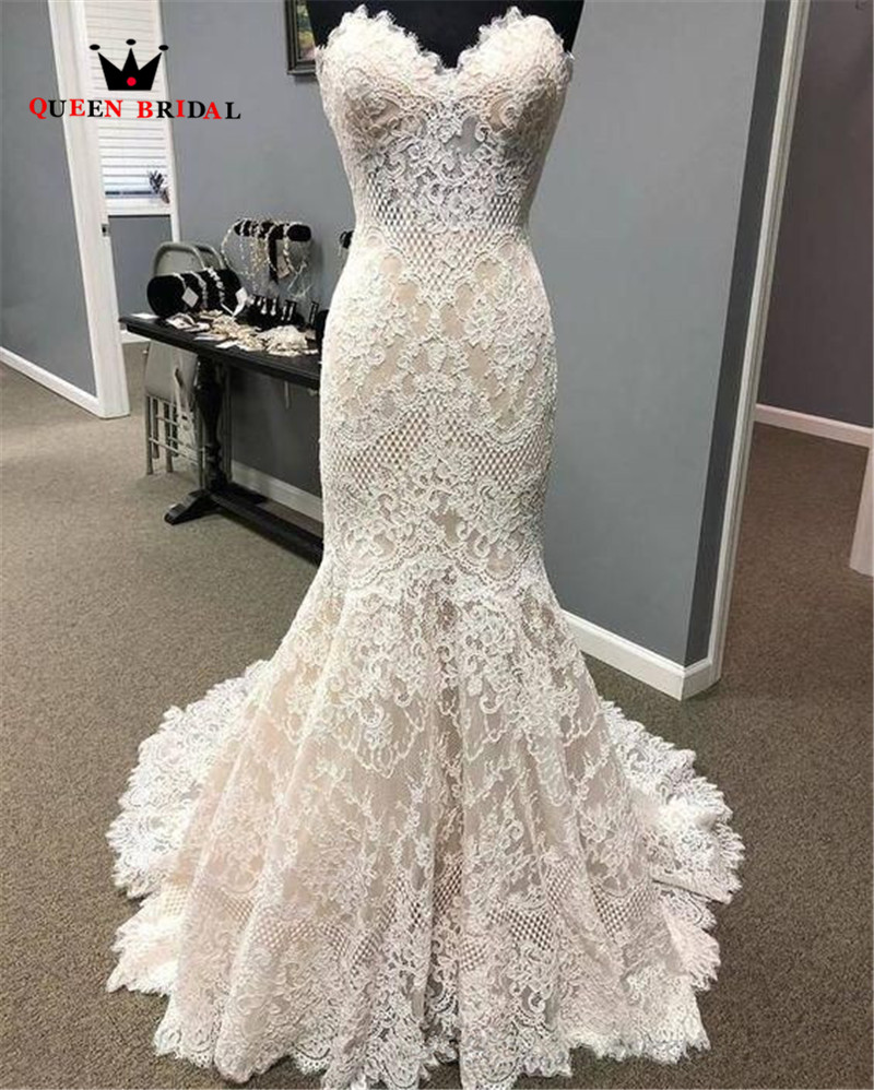 Sexy Wedding Dress Mermaid Sweetheart Tulle Lace Appliques 2020 New Design Vintage Simple Bridal Dresses Custom Made SH02