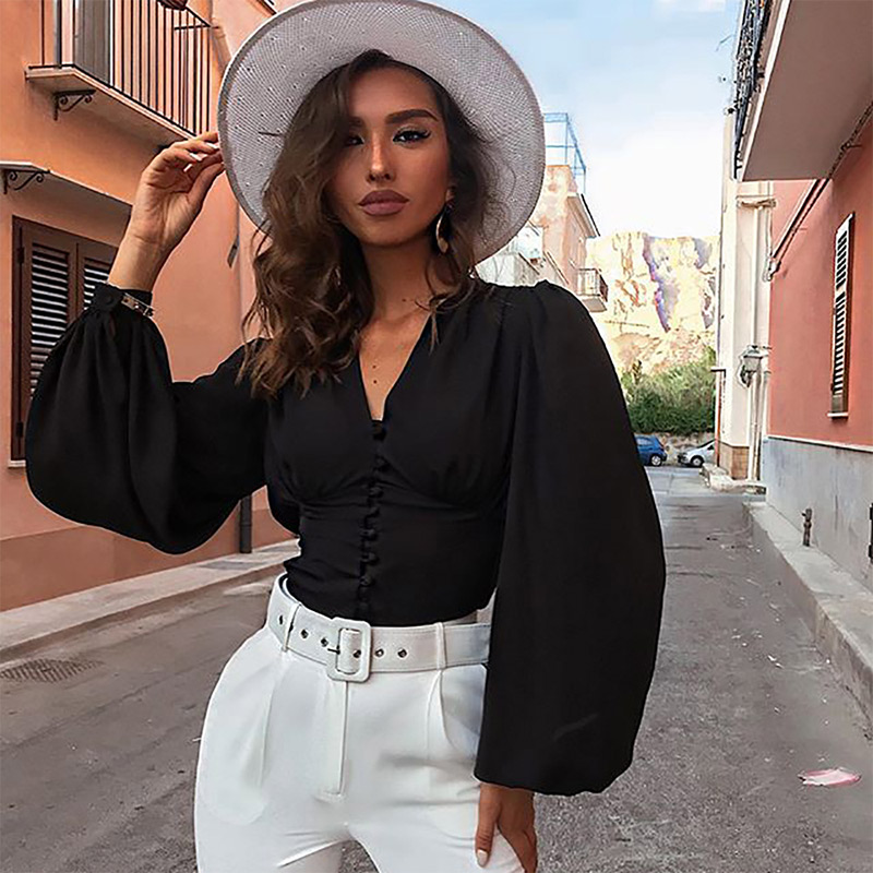 Lantern Sleeve V Neck Womens Blouse Spring Summer Crop Tops Female 2020 Fashion Elegant Blouses Women Black Long Sleeve Clothing