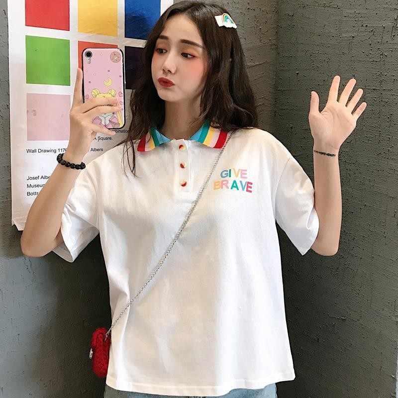 Camiseta polo de verão feminino arco-íris turn down collar manga curta solta camiseta nova moda doce bonito material casual básico t-shi