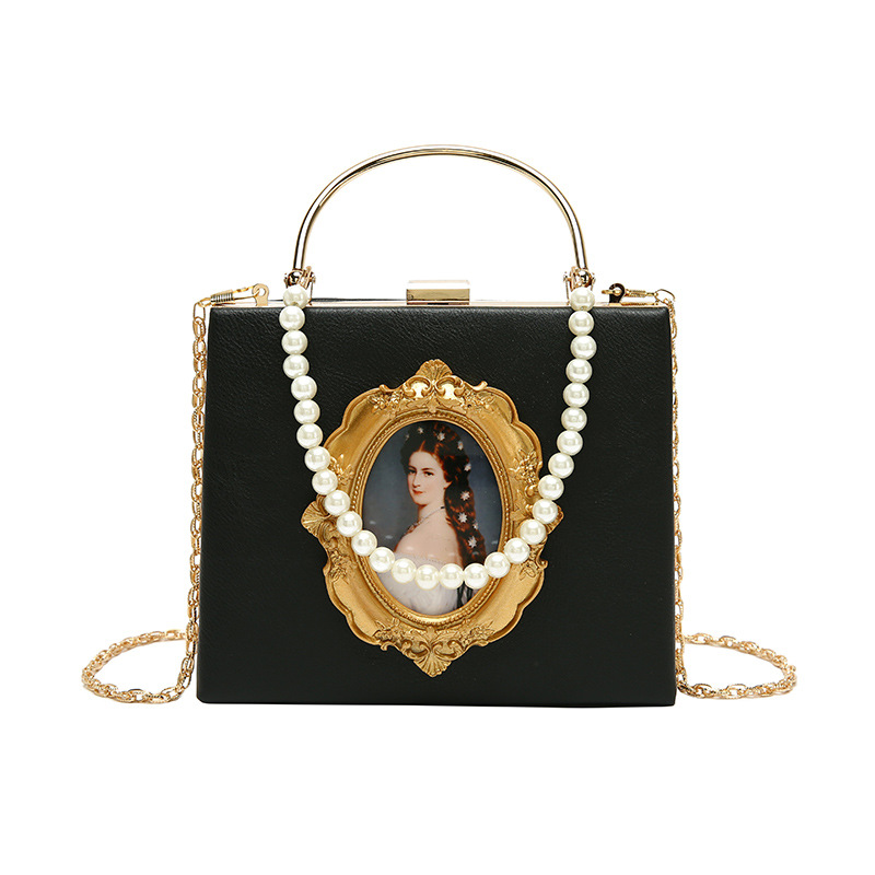 Fashion Hard Surface Box Bags Women Evening Clutches With Pearl Portrait Decoration Female Party Shoulder Pouch