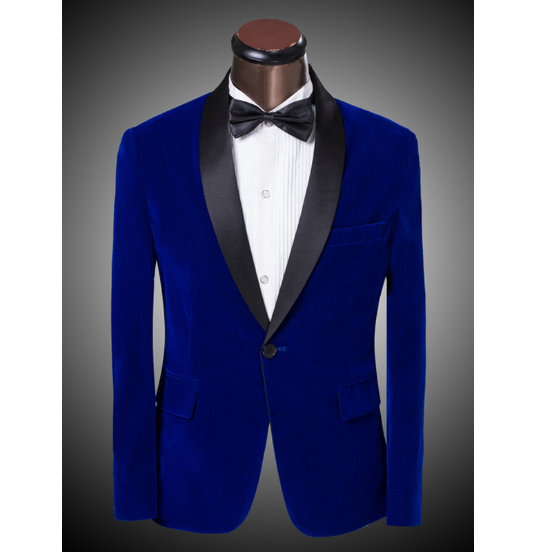 Royal Blue Burgundy Velvet Blazer Slim Fit One Button Groom Tuxedo Costume Mens Dinner Jacket Formal Business Blazers