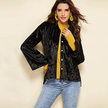 2019 autumn and winter European American ladies jacket sexy elegant lapel black large size slim