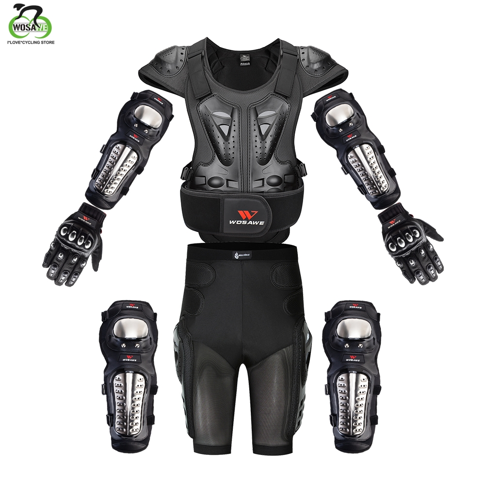 WOSAWE Motorcross Back Protector Skating Snow Body Armour Motorcycle Spine Guard Moto Jacket KneePads Elbow Guard Moto Armor
