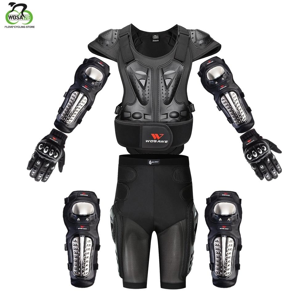 WOSAWE Motorcross Back Protector Skating Snow Body Armour Motorcycle Spine Guard Moto Jacket KneePads Elbow Guard Moto Armor