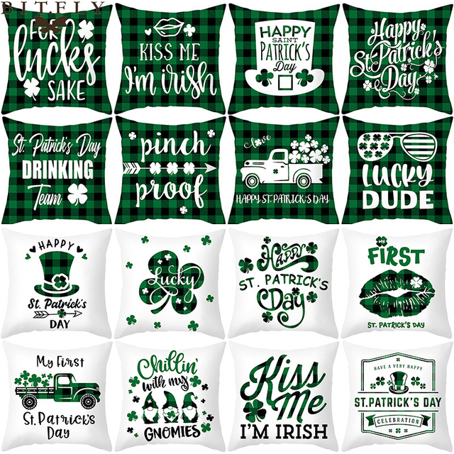 Green Shamrock Clover Happy Saint Patrick's Day Decorations For Home Decorative Cushion Cover Sofa Seat Car Throw Pillow Case 1