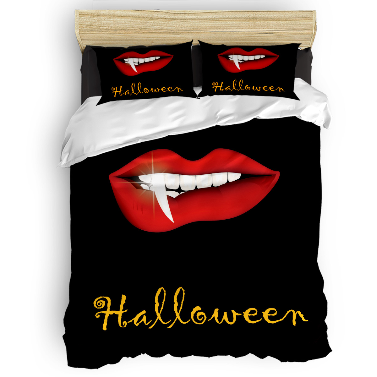Halloween Red Lips Duvet Cover Set Vintage Floral Art Design Collection Of 3/4pcs Bedding Set Bed Sheet Pillowcases Cover Set