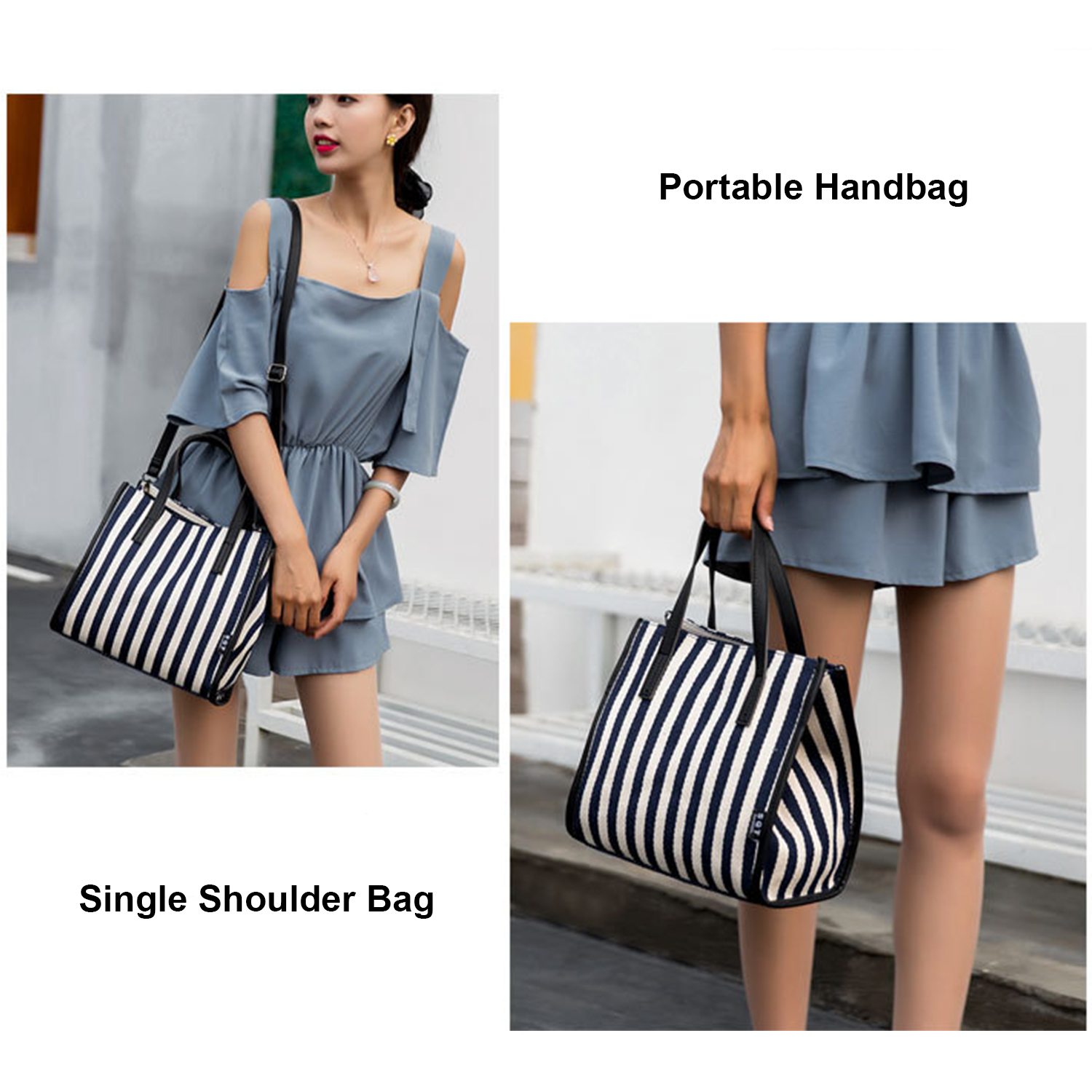 Woman's Shoulder Bags Striped Shopping Bags High Quality Canvas Slung Ladies Beach Handbags Large Capacity Durable Premium Black 5