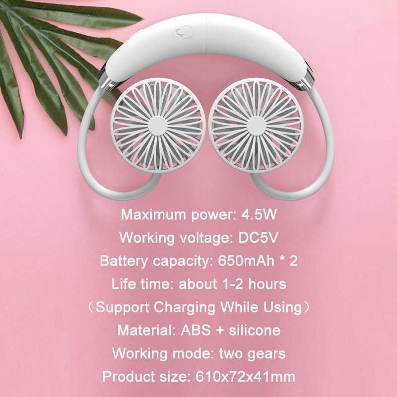 Usbポータブルネックファン取り外し可能なハンドヘルドファン 360 ° ユニバーサル調整多機能デスクファン充電式バッテリー